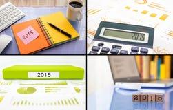 Programma di lavoro di risoluzioni 2015 di anno, insieme del collage, colle di affari Fotografia Stock Libera da Diritti