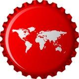Programma di mondo bianco sulla capsula rossa Fotografia Stock Libera da Diritti
