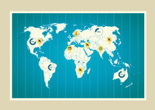 Programma di mondo con gli indicatori Fotografie Stock Libere da Diritti