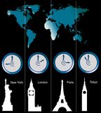 Programma di mondo con gli orologi Fotografie Stock Libere da Diritti