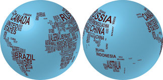 Programma di mondo con il nome di paese Fotografie Stock Libere da Diritti
