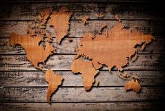 Programma di mondo dell'annata con struttura di legno dell'annata. Immagini Stock