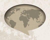 Programma di mondo dell'annata nella priorità bassa dell'aerostato di discorso illustrazione vettoriale