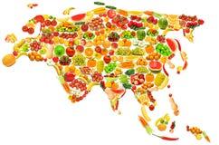 Programma di mondo fatto delle frutta e delle verdure Immagine Stock