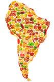 Programma di mondo fatto delle frutta e delle verdure Immagini Stock