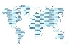 Programma di mondo punteggiato Blu della mappa di mondo Fotografie Stock