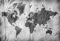 Programma di mondo su documento invecchiato Fotografia Stock