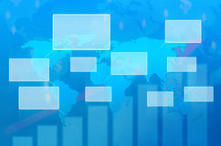 Programma di mondo su un'interfaccia dello schermo di tocco Immagini Stock