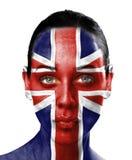 Programma di mondo sul fronte della donna di bellezza   Fotografie Stock Libere da Diritti