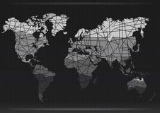 Programma di mondo Tagli i continenti Illustrazione di vettore Fotografia Stock Libera da Diritti