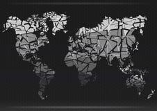 Programma di mondo Tagli i continenti Illustrazione di vettore Fotografie Stock Libere da Diritti