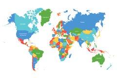 Programma di mondo di vettore Mappa di mondo variopinta con i confini dei paesi Mappa dettagliata per l'affare, viaggio, medicina illustrazione di stock