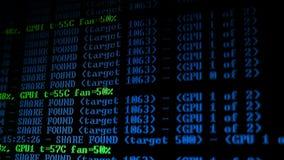 Programma di processo di Cryptocurrency di estrazione mineraria sul PC dell'esposizione Facendo uso di software Parte trovata archivi video