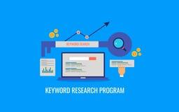Programma di ricerca di parola chiave, ottimizzazione del motore di ricerca, posto di seo, analisi dei dati Insegna piana di vett illustrazione vettoriale