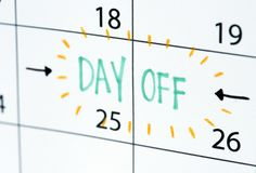 Programma di ricordo del calendario di giorno libero fotografia stock libera da diritti