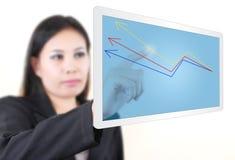Programma di scrittura della donna di BBusiusiness nel whiteboard. Fotografie Stock