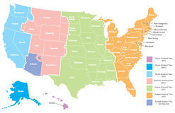 Programma di Timezone degli Stati Uniti Fotografia Stock Libera da Diritti