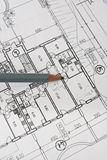 Programma e matita di architettura della Camera su documento Fotografia Stock