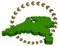 Programma olandese con il cerchio degli euro Fotografia Stock Libera da Diritti