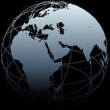 Programma orientale di longitudine del mondo della terra del globo sul nero Immagine Stock Libera da Diritti