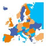 Programma politico di Europa I ministati europei inclusi Mappa piana su fondo bianco Illustrazione variopinta di vettore illustrazione vettoriale