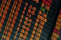 Programma van vluchtenvertrek Stock Fotografie