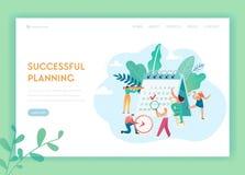 Programmabeheer, het Malplaatje van het Bedrijfs Planningslandingspagina Karakters die aan Groot Kalenderconcept werken voor Webp stock illustratie