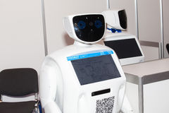 Programmable humanoid promo robot on Robotics Expo in Moscow, Russia Stock Images