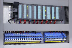 Programmable logic controller and relays. In industry Royalty Free Stock Images