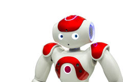 Programmable robot na bielu Zdjęcia Stock