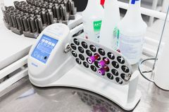 Programmable Rotator Multi Bio RS-24. Saint-Petersburg, Russia - April 6, 2018:  Programmable Rotator Multi Bio RS-24 by Biosan stands on laboratory table Royalty Free Stock Photos