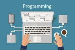 Programmando e codificando, deveopment del sito Web, web immagini stock