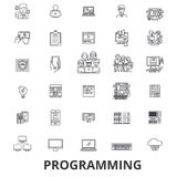 Programmant, programmeur, code, ordinateur, logiciel, développement, ligne icônes d'application Courses Editable Conception plate Image stock