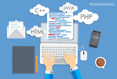Programmation codant le vecteur plat de concept Image libre de droits