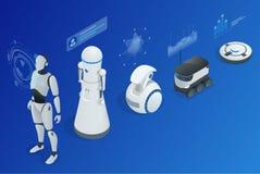 Programmation isométrique de robot de concept Infographics des aides et des amis de robots illustration stock