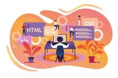 Programmatore Character Working sul computer portatile teamwork illustrazione di stock
