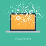 Programmazione per l'utente codificando codice binario sul taccuino Fotografie Stock Libere da Diritti