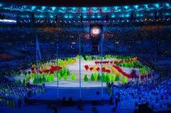Programme artistique pendant les cérémonies Rio2016 fermantes image stock