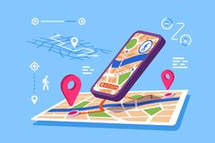 Programme d'application temps réel de cartes de site illustration stock