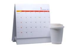 Programme de bureau d'isolement de blanc de calendrier Photo stock