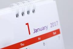 Programme de bureau de blanc de calendrier du 1er janvier 2017 Photo stock