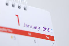 Programme de bureau de blanc de calendrier du 1er janvier 2017 Photos stock