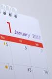 Programme de bureau de blanc de calendrier du 1er janvier 2017 Photo libre de droits