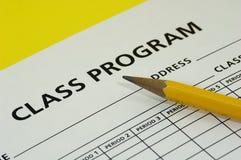 Programme de classe images stock