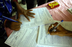 Programme de donation de sang en Inde. Images libres de droits