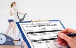 Programme de forme physique d'écriture de main en gymnastique Photos libres de droits