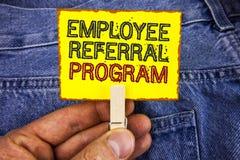 Programme de référence des employés des textes d'écriture de Word Le concept d'affaires pour recommandent le bon courrier du trav Image libre de droits