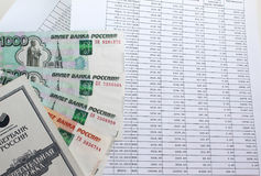 Programme et argent de remboursement de prêt image libre de droits
