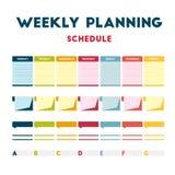 Programme hebdomadaire de planification Images stock