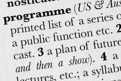 Programme word dictionary defi stock photography
